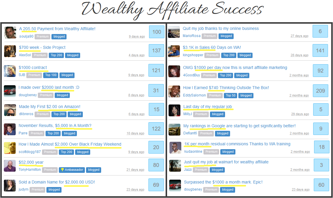 wealthy affiliate success